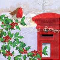 Crystal Card Robin & Postbox Partial (18x18 cm)