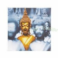 Crystal Art Kit Golden Buddha op houten frame (30×30cm) (Partial)