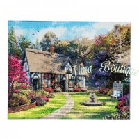 Crystal Art Kit Country Cottage landscape op houten frame (40x50 cm) (Full)