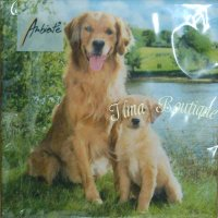 Golden Retriever 3-laags papieren servetten pakje per 20 st.